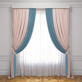 Комплект штор Pasionaria Латур светло-розовый/голубой (шир. 240) с вуалью и подхватами