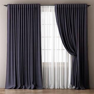 Комплект штор Pasionaria Димаут Омма темно-серый (шир. 240) с вуалью и подхватами