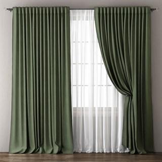 Комплект штор Pasionaria Димаут Омма зеленый (шир. 240) с вуалью и подхватами