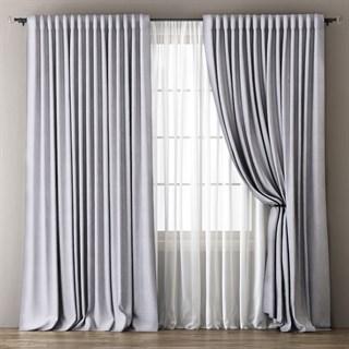 Комплект штор Pasionaria Димаут Омма светло-серый (шир. 240) с вуалью и подхватами