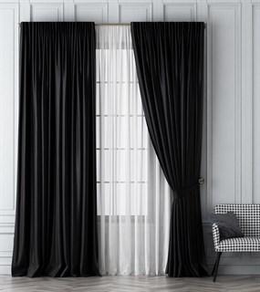 Комплект штор Pasionaria Шанти черный (шир. 170) с вуалью и подхватами