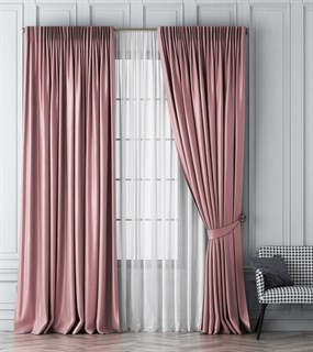 Комплект штор Pasionaria Шанти розовый (шир. 170) с вуалью и подхватами