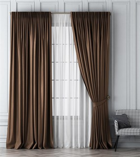 Комплект штор Pasionaria Шанти коричневый (шир. 170) с вуалью и подхватами