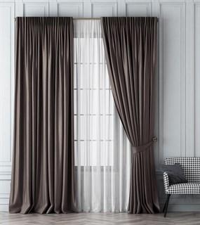 Комплект штор Pasionaria Шанти темно-серый (шир. 170) с вуалью и подхватами