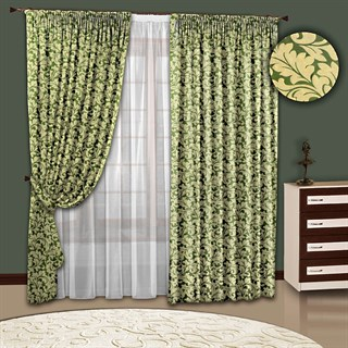 Готовые шторы с тюлем Вензель зеленые