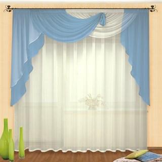 Легкие шторы с ламбрекеном Фантазия голубые