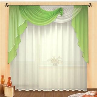 Легкие шторы с ламбрекеном Фантазия зеленые