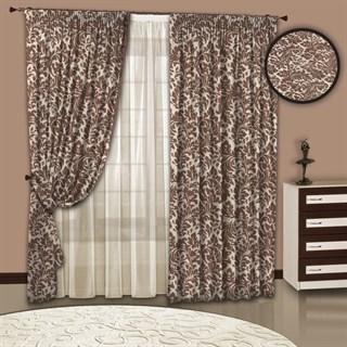 Готовые шторы с тюлем Вензель цвет какао-беж