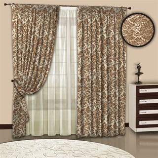 Готовые шторы с тюлем Вензель беж-золото