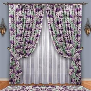 Готовые шторы с вуалью Роскошный пион фиолетовые