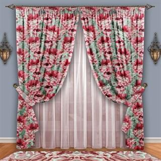 Готовые шторы с вуалью Роскошный пион розовые