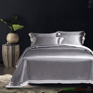 Шелковое постельное белье Плаза Грей евро
