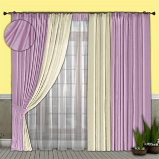 Готовые шторы с вуалью Элиза сиреневые