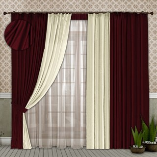 Готовые шторы с вуалью Элиза бордовые