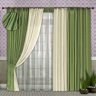 Готовые шторы с вуалью Элиза фисташковые