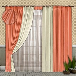 Готовые шторы с вуалью Элиза персиковые