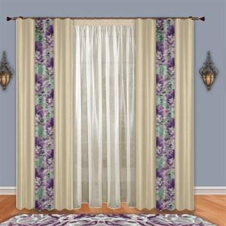 Готовые шторы с тюлем Пион фиолетовые
