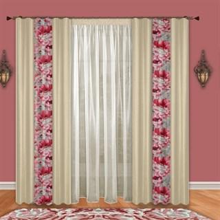 Готовые шторы с тюлем Пион розовые