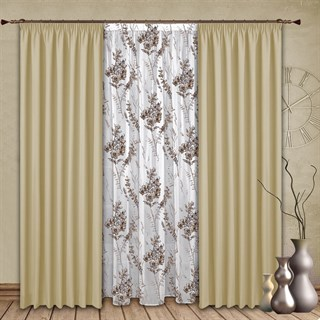 Готовые шторы с тюлем Ненси бежевые