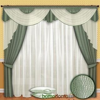 Готовые шторы с вуалью Элеонора фисташковые