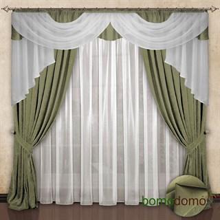 Готовые шторы с вуалью Элеонора оливковые