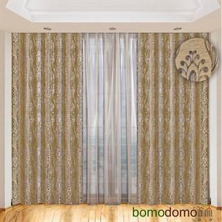 Легкие жаккардовые шторы с вуалью Империя золотисто-бежевые