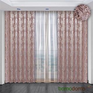 Легкие жаккардовые шторы с вуалью Империя розовые