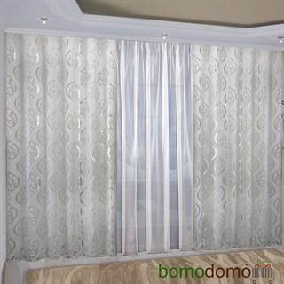 Легкие жаккардовые шторы с вуалью Империя белые