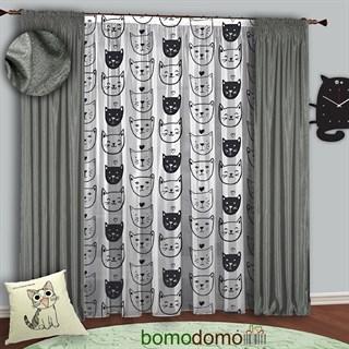 Готовые шторы с тюлем Котомания серебристо-серые