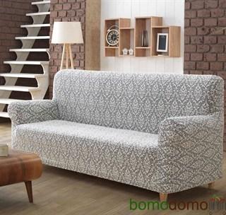 MILANO NATURAL Чехол на 2-х местный диван от 130 до 170 см крем-графит