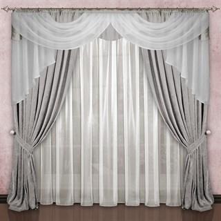 Готовые шторы с вуалью Элеонора серые