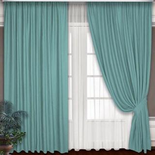 Готовые шторы Блэкаут-Софт Бирюза с подхватами