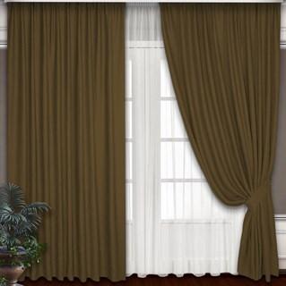 Готовые шторы Блэкаут-Софт Горчица с подхватами