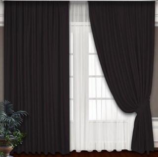 Готовые шторы Блэкаут-Софт Венге с подхватами