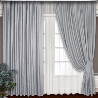 Готовые шторы Блэкаут-Софт Сталь с подхватами