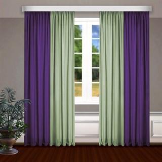 Комбинированные шторы Габриэль, фиолет/фисташковый