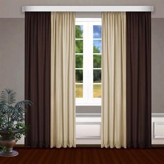 Комбинированные шторы Габриэль, коричневый/бежевый