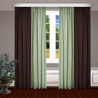 Комбинированные шторы Габриэль, коричневый/фисташковый