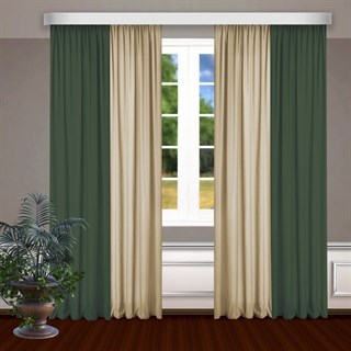Комбинированные шторы Габриэль, зеленый/бежевый