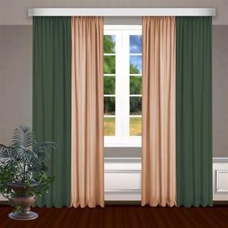 Комбинированные шторы Габриэль, зеленый/персиковый