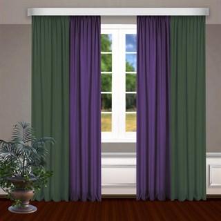 Комбинированные шторы Габриэль, зеленый/фиолетовый
