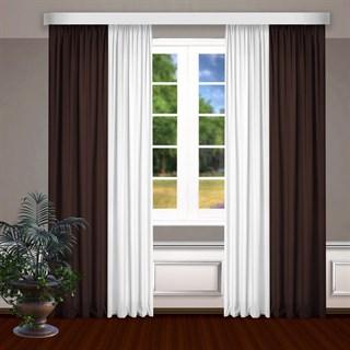 Комбинированные шторы Габриэль, белый/коричневый