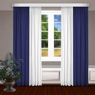 Комбинированные шторы Габриэль, белый/синий