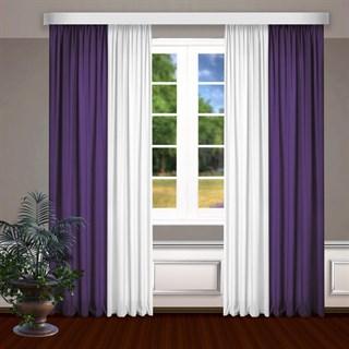 Комбинированные шторы Габриэль, белый/фиолетовый