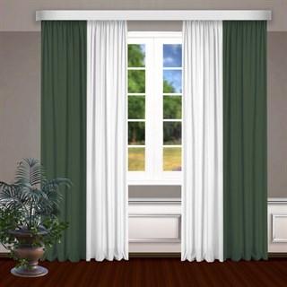 Комбинированные шторы Габриэль, белый/зеленый