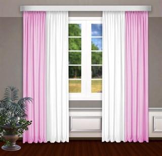 Комбинированные шторы Габриэль, белый/розовый