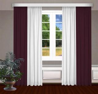 Комбинированные шторы Габриэль, белый/бордовый