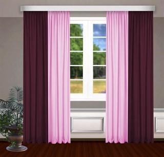 Комбинированные шторы Габриэль, бордовый/розовый