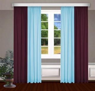 Комбинированные шторы Габриэль, голубой/бордовый