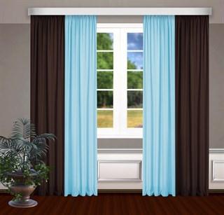 Комбинированные шторы Габриэль, голубой/коричневый